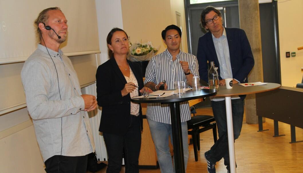Fra venstre: Marius Andersen, Bente Seierstad, Frank Aleksander Bræin og Mattias Øhra. Foto: Ståle Johnsen