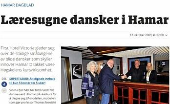 Faksimile fra Hamar Dagblad fra 2009.
