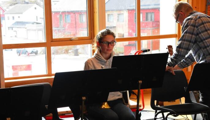Guro Martinsen spiller kornett. Foto: Kirsten Ropeid