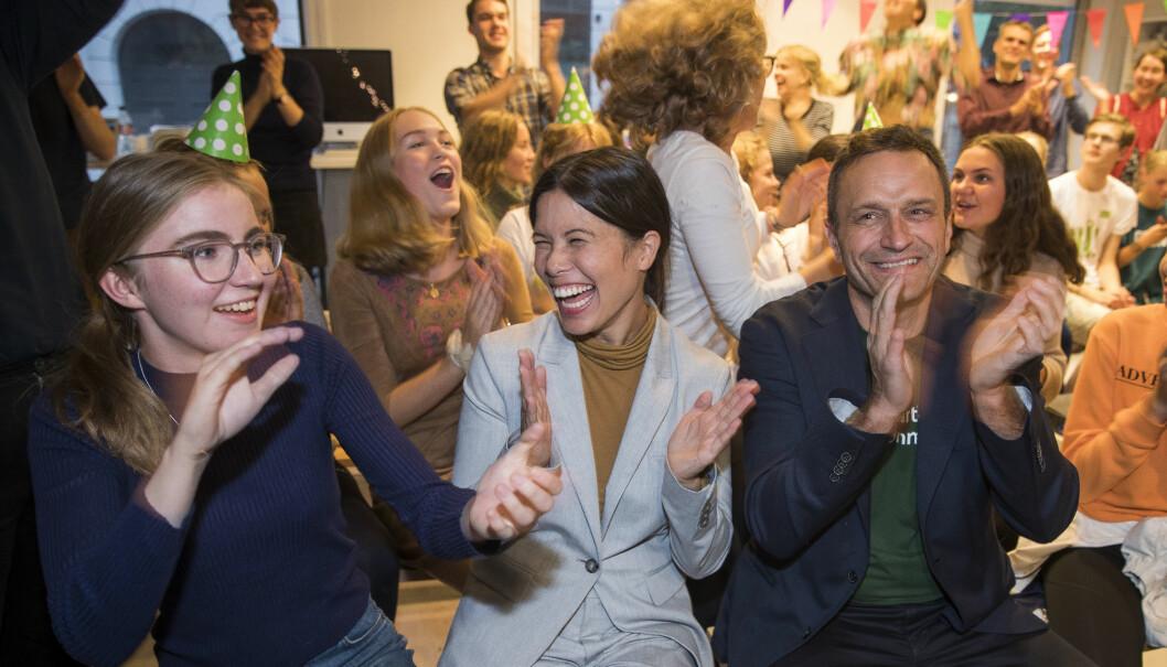 Hulda Holtved fra De Grønne (tv) Lan Marie Nguyen Berg og Arild Hermstad i Miljøpartiet De Grønne på valgvake i for med skolevalget 2019. Foto: Terje Pedersen / NTB scanpix