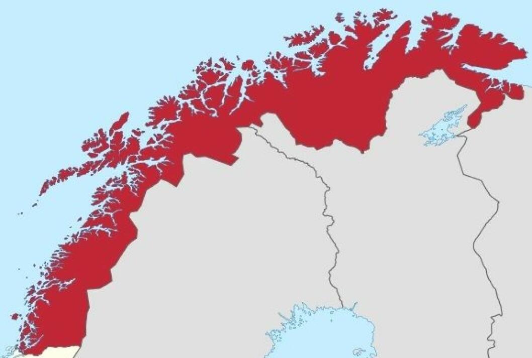 Av de åtte kommuner hvor mer enn 25 prosent av timene gis av ufaglærte, er halvparten i Nord-Norge, skriver Karl Øyvind Jordell. Illustrasjon: Wikimedia Commons/TUBS.