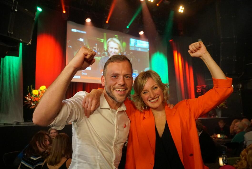Partileder Audun Lysbakken og skolebyråd Inga Marte Thorkildsen er strålende fornøyde med SVs valgresultat. Foto: Marianne Ruud
