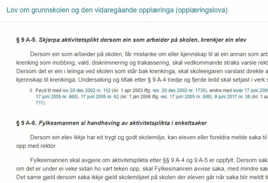 Illustrasjon: Skjermdump frå lovdata.no