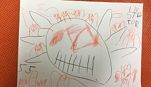 Et monster? Eller edderkopper? Barna sender også tegninger de har laget. Foto: Privat