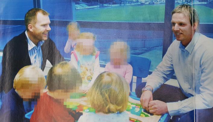 – Dette er noe vi tror på, sa Jim Solbakken (t.v.) da han og eier av Kristiansund idrettsbarnehage, Terje Hammerås, stilte opp i Dagbladet i februar 2008. Foto: Anders Tøsse.