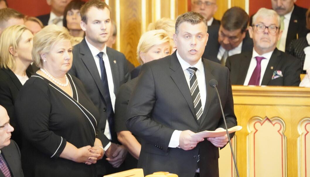 Justisminister Jøran Kallmyr under åpningen av det 164. Storting. Foto: Terje Pedersen / NTB scanpix