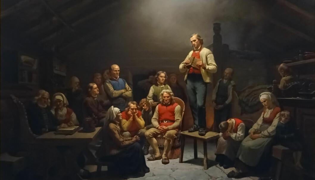 Betydningen av Hans Nielsen Hauges virke er blant temaene Kristent Pedagogisk Forum foreslår for lokale læreplaner i KRLE. Illustrasjon: «Haugianerne» av Adolph Tidemand (1814-1876). Hentet fra Wikimedia Commons.