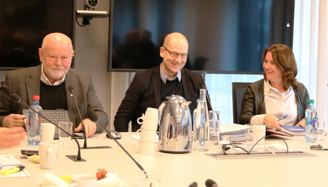 Dagens ledertrio kan få fornyet tillit. Fra venstre: Nestleder Terje Skylvulstad, leder Steffen Handal og nestleder Hege Valås. Foto: Udf