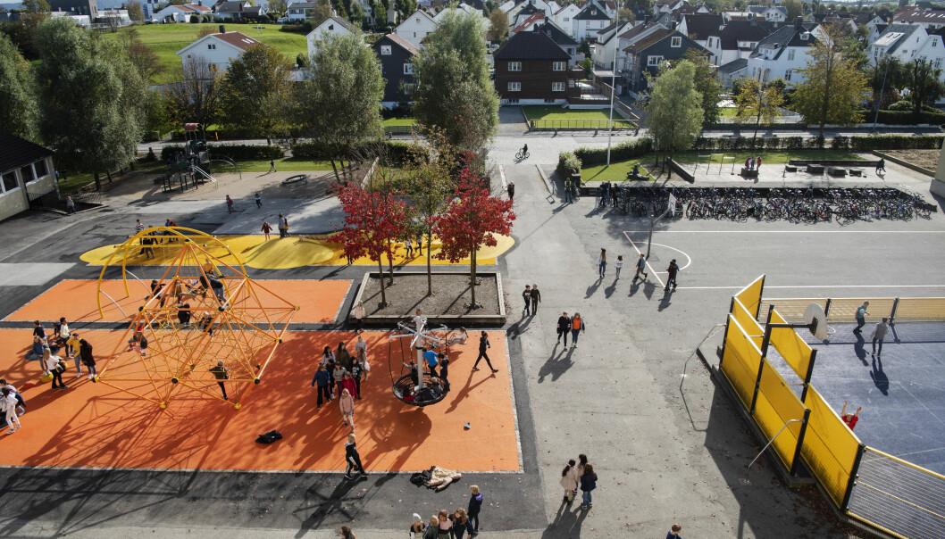 Landskapsarkitektene ga elevene det de ønsket seg: Farger, soner og mye aktivitet. Foto: Marie von Krogh