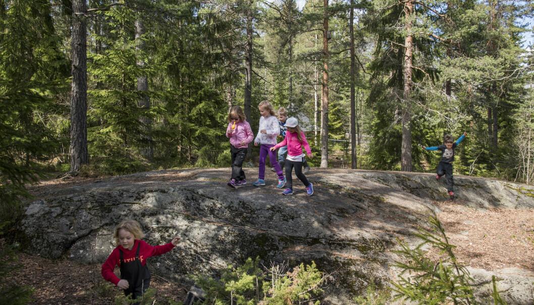 Full fart i Hebekkskogen barnehage i Ski kommune i Akershus. Foto: Erik M. Sundt.