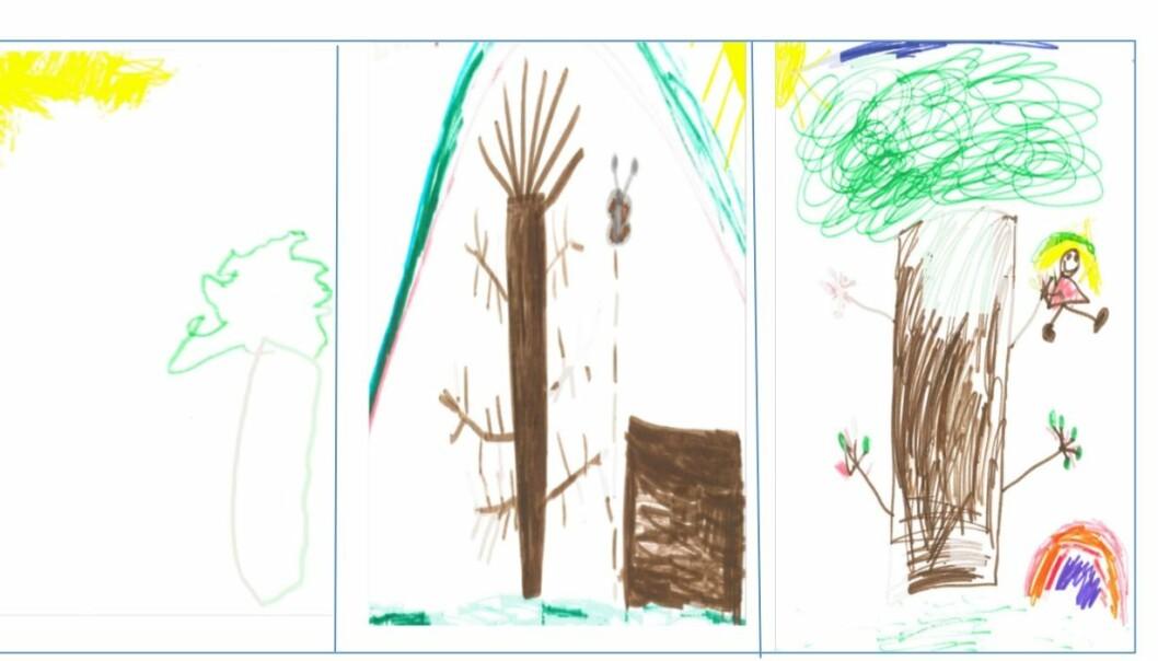 Barnetegninger fra forskningsartikkelen til Trond Løge Hagen.