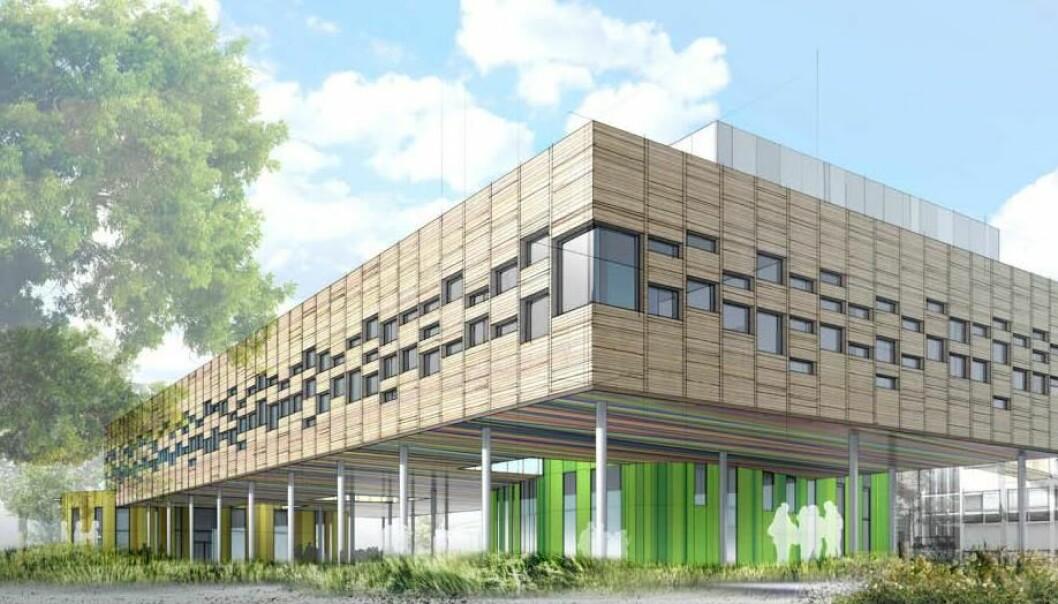 Deler av skolegården vil være under det nye skolebygget. Illustrasjon: Plus Arkitektur