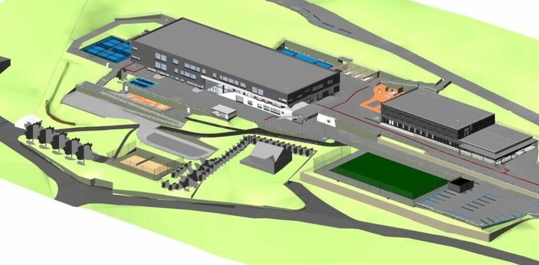 Tegning av de nye skolebyggene og uteområdene.