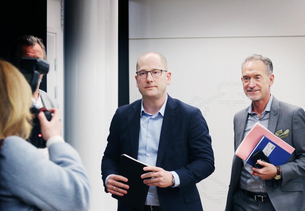 Forhandlingssjef Steffen Handal og forhandlingsleder for KS, Tor Arne Gangsø under tariffstarten i KS-området i april. Foto: Jørgen Jelstad