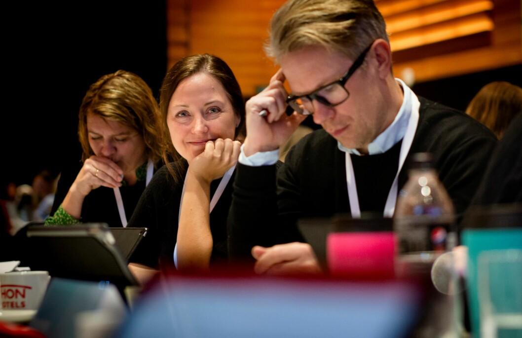 Signe Norbotten fra Rogaland UDF tar til orde for å stryke masterkravet fra forbundets politiske program. Foto: Tom-Egil Jensen