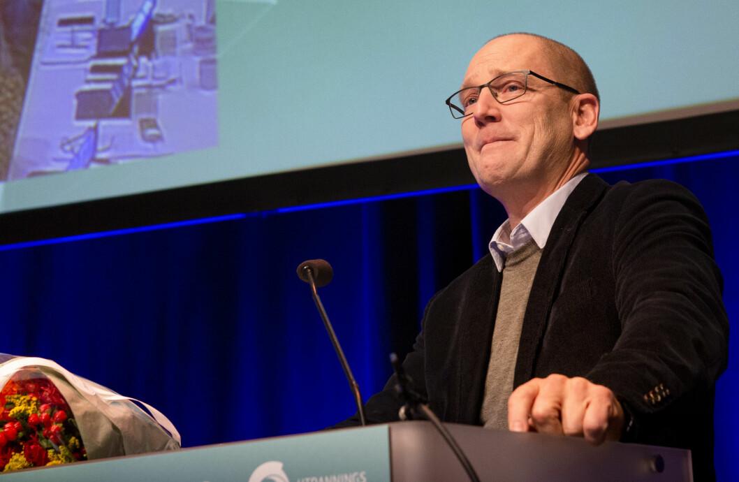 Steffen Handal mottok stående applaus da han ble gjenvalgt som leder av Utdanningsforbundet. Foto: Tom-Egil Jensen