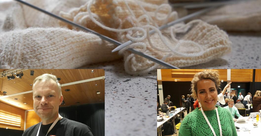 Geir Evensen og Helene Pedersen har hver sine tips til hvordan de holder ut når diskusjonene på Utdanningsforbundets landsmøte drøyer. Foto: Ylva Irene Lie Bjerke / Pixabay.