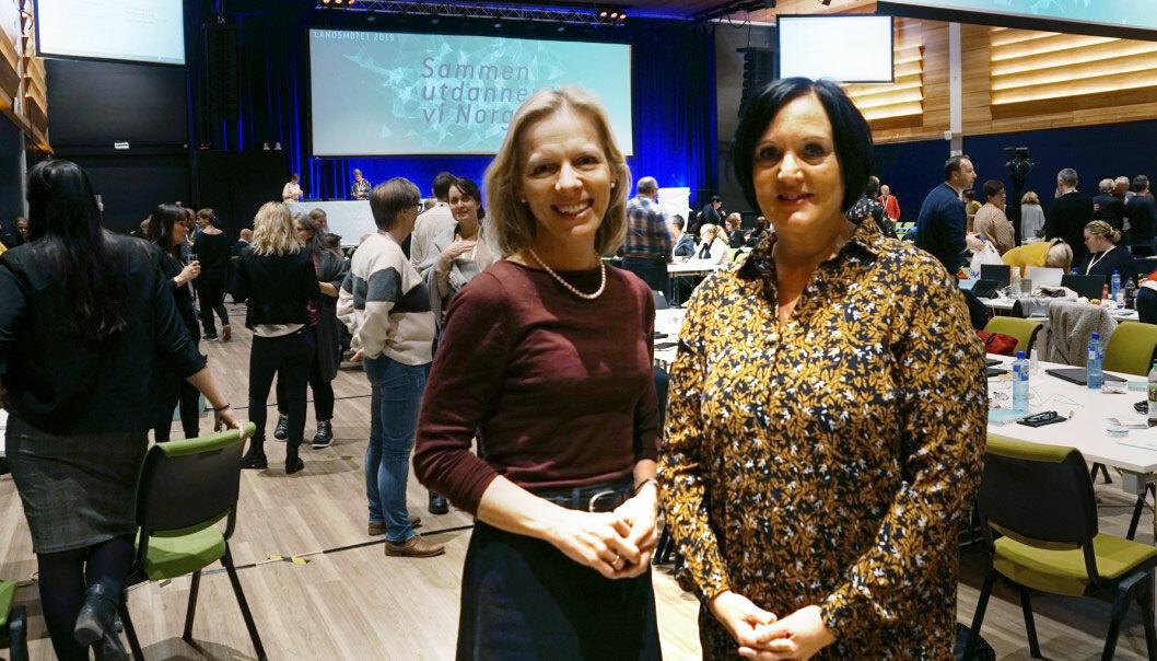 Marte Gerhardsen, direktør i Utdanningsetaten i Oslo, og Aina Skjefstad Andersen, fylkesleder i Oslo, er opptatt av å lytte til hverandre for å få til både bedre ytringskultur og god integrering i Osloskolen. Foto: Marianne Ruud