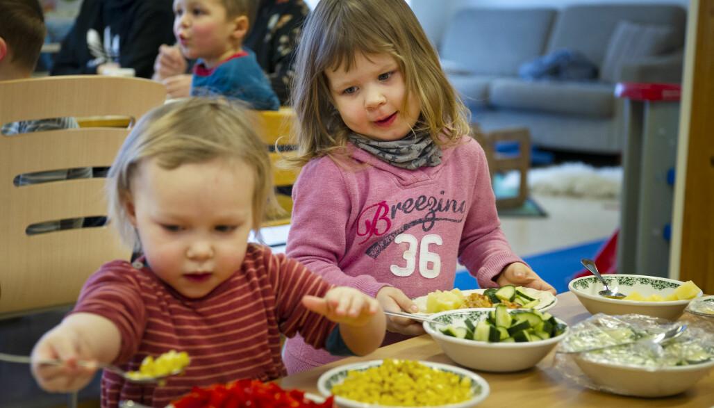 Maten er servert, og Elida Bårnes og Sigrid Jenssen får forsyne seg selv. Ideene til fiskerettene henter barnehagen fra nettsteder som Godfisk og Fiskesprell.