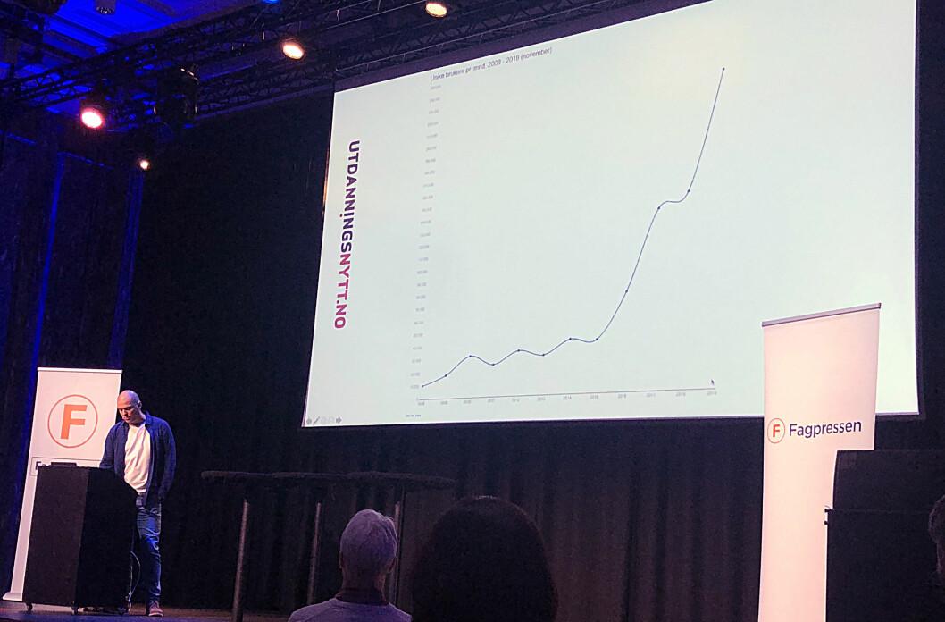 Nettredaktør Paal Svendsen presenterte svært gode tall for utdanningsnytt.no på Fagpressedagen 2019. Bladet Utdanning ble fagpressens opplagsvinner.