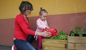 Assistent Sandrine Paquier vanner blomstene ute i barnehagen sammen med Kess