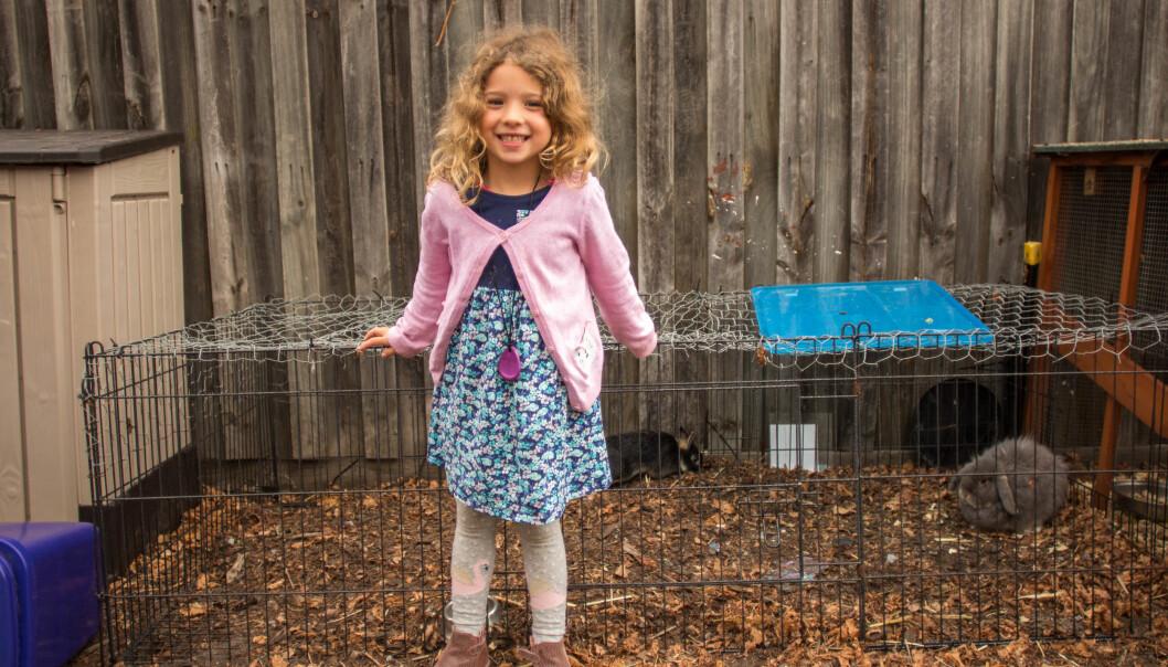 Barnehagen har to små kaniner, for å lære barna, som Eva, hvordan de både tar vare på dyra og hverandre