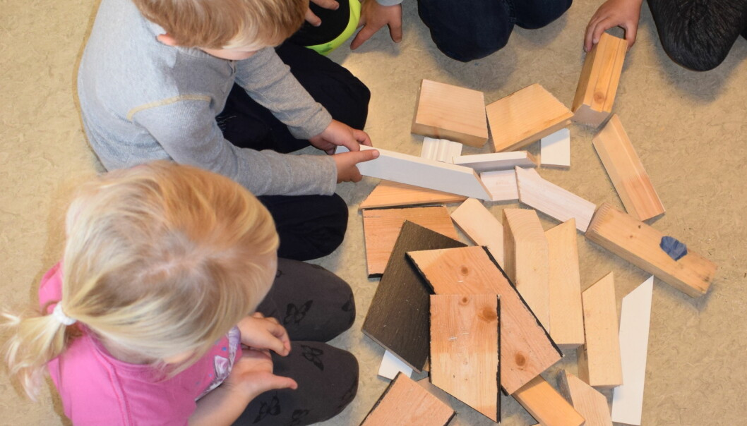 Barnehagelærerstudentene tok med sine gode erfaringer og kunnskaper om treklossenes muligheter da de var i praksis i barnehager.