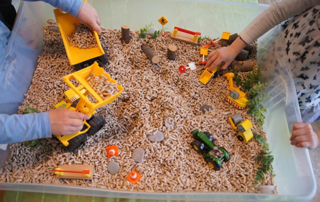 Innholdet i sansekassene består av et grunnmateriale det er deilig å la fingrene gli gjennom. Det kan være ris, linser, akvariegrus eller burstrø som du kjøper i dyrebutikker. I tillegg kan du tilføre materialer som barna kan lage en fantasiverden av.