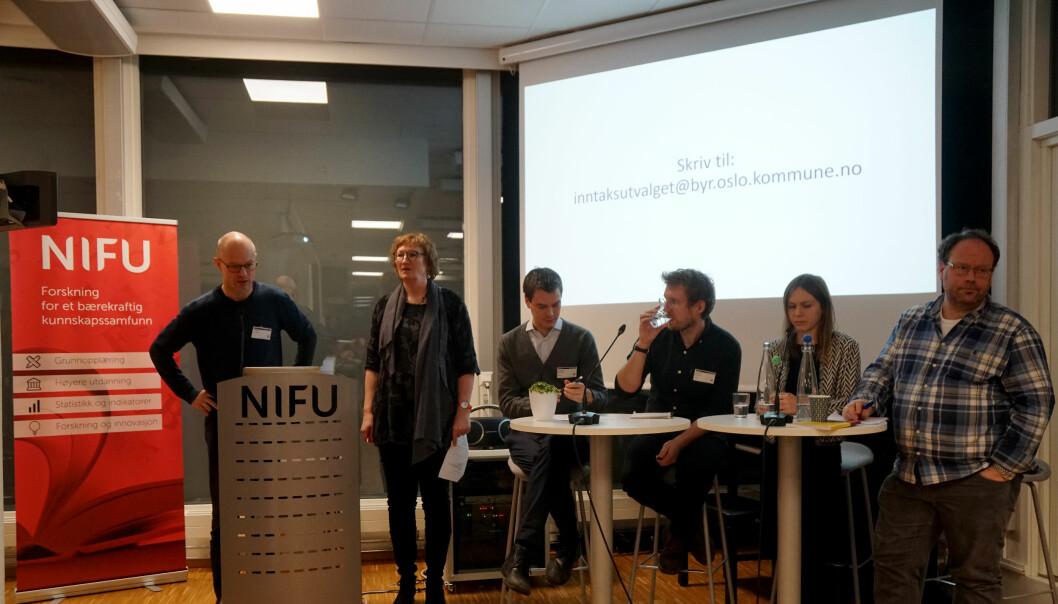 NIFU-forsker Berit Lødding og forskerne Martin Flatø, Mikkel Høst Gandil, Olga Serediak og Håvard Helland hadde forskerblikk på inntaksmodellene, men de ga ikke råd til politikerne. Spørsmålsstilleren på talerstolen var opptatt av elevers valgstrategier.