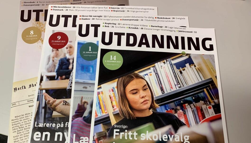 – I dei siste nummera av Utdanning er det eit overveldande fleirtal med nynorsksider, skriv Arne Nydal.