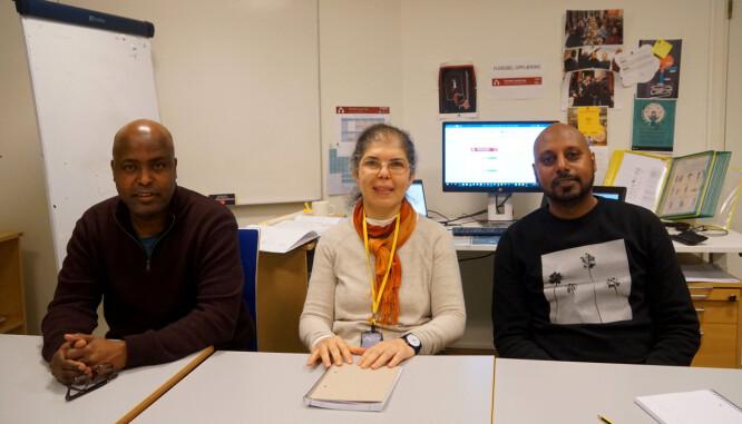 Sid Omar Ahmed, Sanaa Ezzat og John Sium er nettlærere i somali, arabisk og tigrinja.