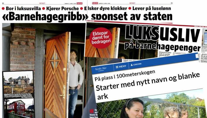 Faksimiler fra Dagbladet og Nordre Aker Budstikke.