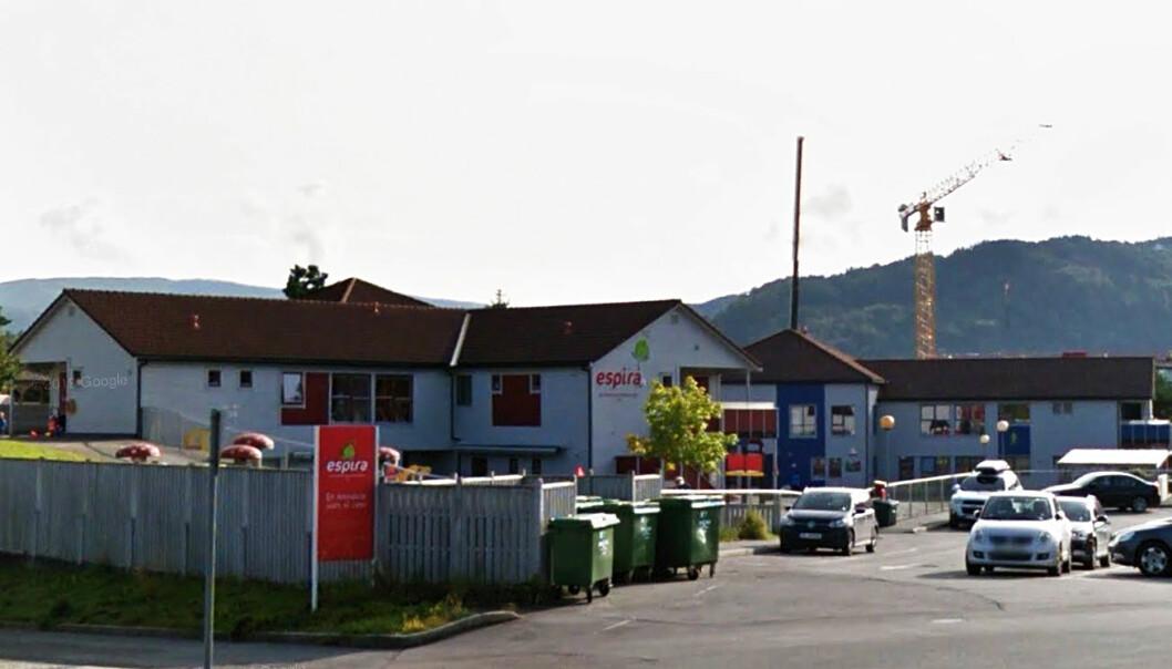 Espira Rå barnehage i Bergen har rundt 250 barnehageplasser og sju millioner kroner i årlig husleie. Foto: Google.