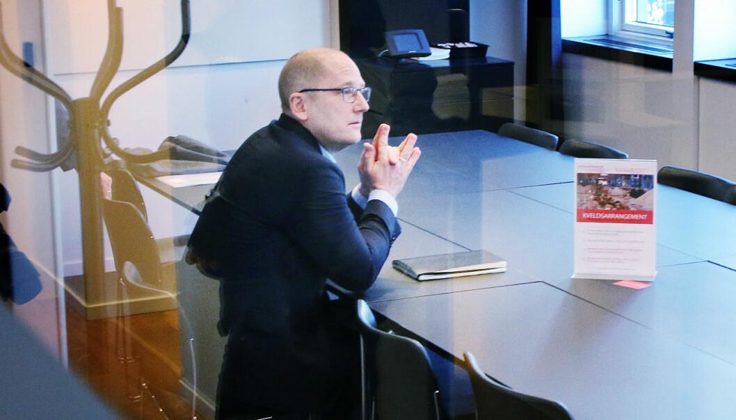 UDF-leder Steffen Handal ber arbeidgsiversiden opptre sindig nå. Bildet er fra fjorårets lønnsforhandlinger.
