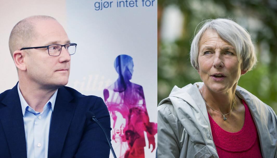 Steffen Handal og Anne Finborud, ledere for hhv. Utdanningsforbundet og Skolenes Landsforbund