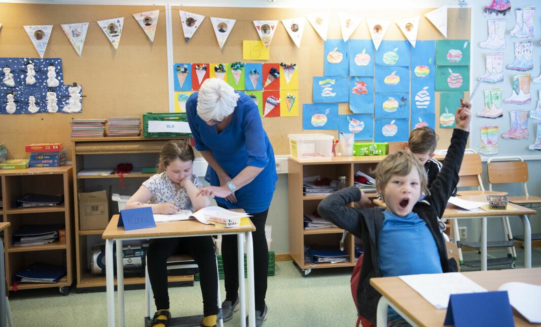 Bildet er fra første skoledag etter koronanedstegningen ved Tromsdalen skole.