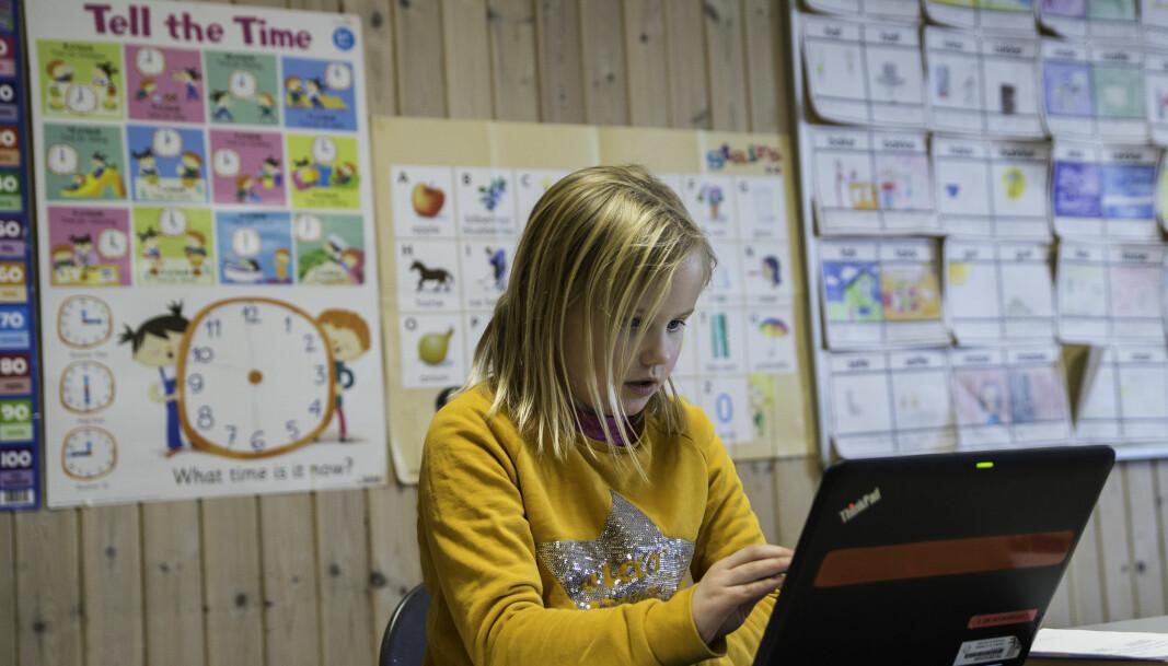 Det var litt ekkelt å måtte tippe på noen av svarene, mener åtte år gamle Helle Kornelia Henriksdatter Gomo ved Vikåsen skole. Vanligvis synes hun matteprøver er enkle.