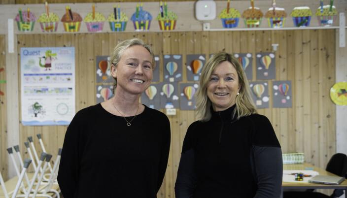Berit Høiseth og Torill Frost Hennum er lærere for de to tredjeklassene som har testet ut matematikkprøven ved Vikåsen skole. De meldte på klassene sine selv.