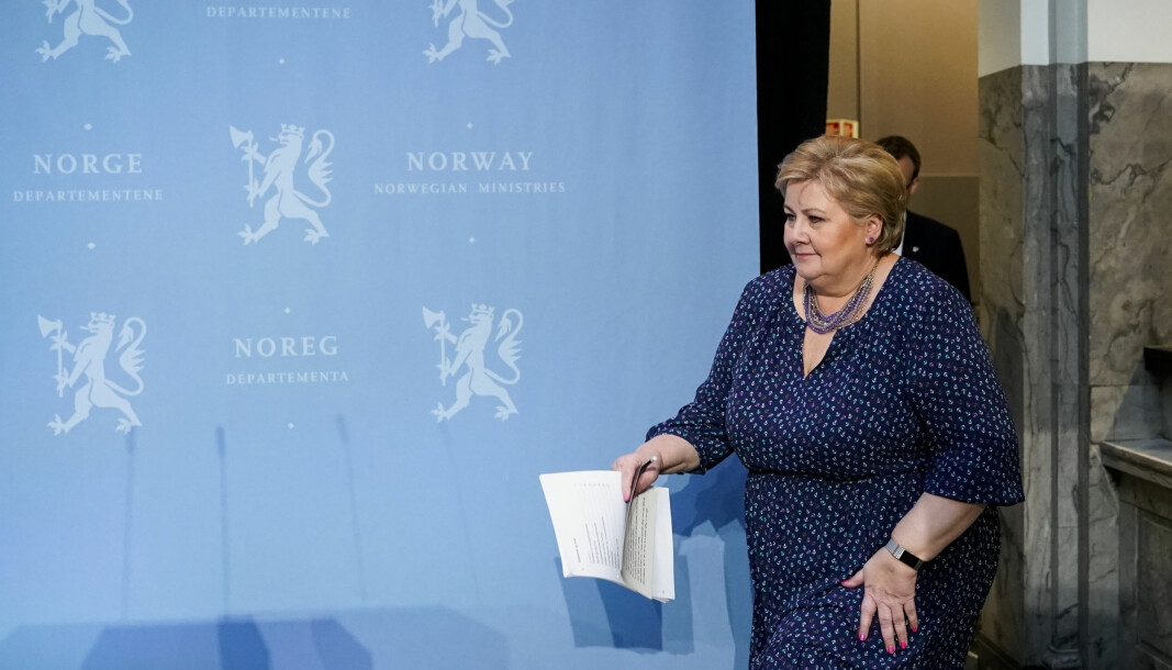 Statsminister Erna Solberg under Regjeringens pressekonferanse om gjenåpning av samfunnet. Foto: Fredrik Hagen / NTB scanpix