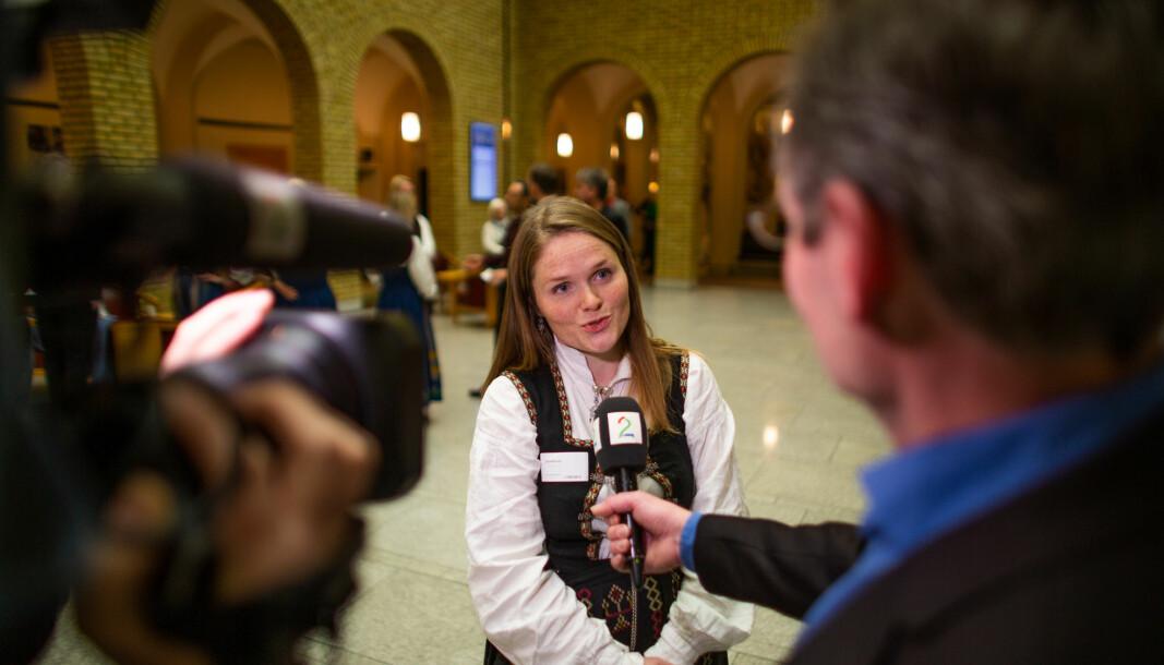 Aksjonsleder Jenny Myklebust blir intervjuet av Tv2 på Stortinget i fjor.