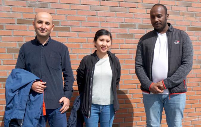 Eyüp Toraman, Phuong Thi Ma og Abel Kahsay Rusom kombinerer jobb og opplæring.
