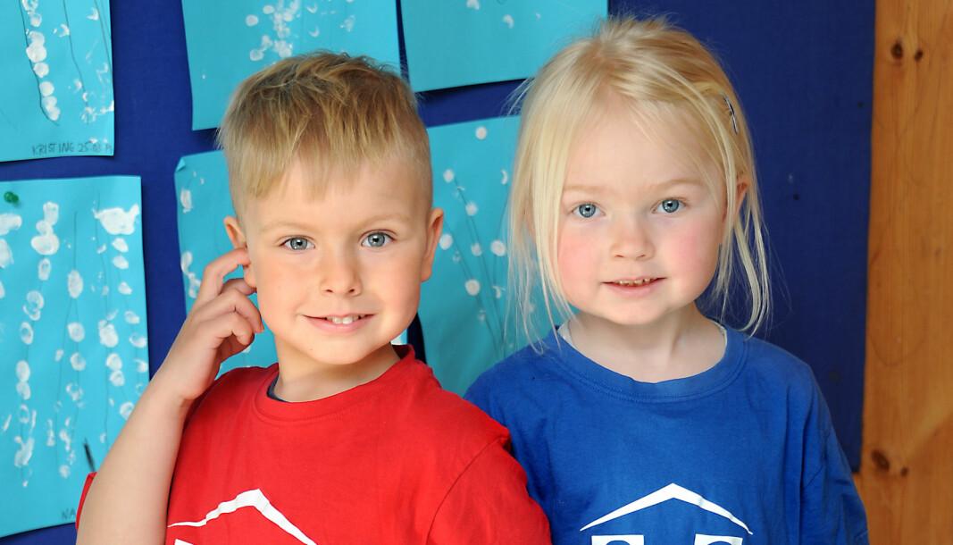 Bakken barnehage i Skien er den eneste barnehagen i Norge der gutter og jenter, som Aras Norvillas og Mathilde Stubberød-Nilsen, går på hver sin avdeling.