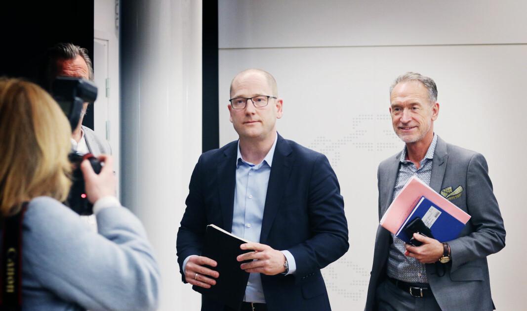 Steffen Handal og forhandlingsleder for KS, Tor Arne Gangsø under tariffstarten i KS-området i 2019. .