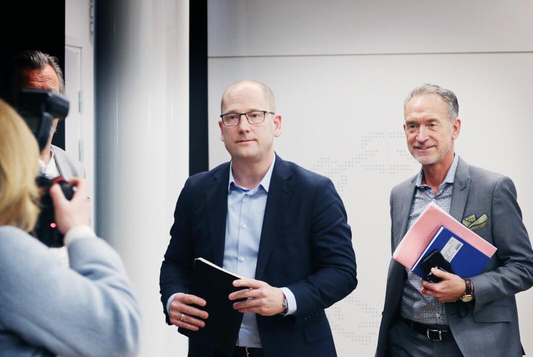 Forhandlingssjef Steffen Handal og forhandlingsleder for KS, Tor Arne Gangsø under tariffstarten i KS-området i Oslo.
