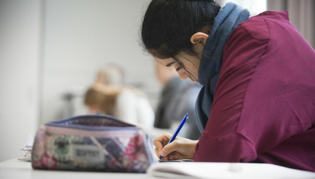 Undervisning i klasserom, elev arbeider