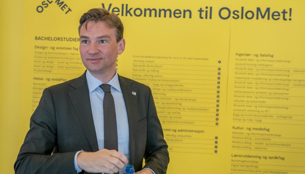 Minister for forskning og høyere utdanning, Henrik Asheim, kommenter årets opptak under en pressekonferanse på OsloMet om opptaket til høyere utdanning.