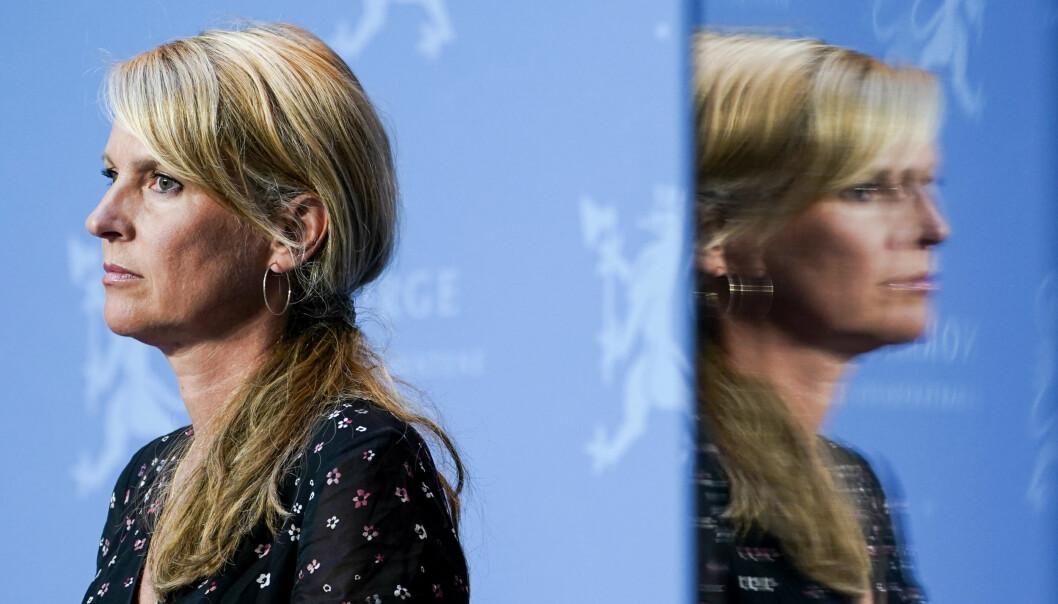 Oslo 20200731.  Avdelingsdirektør i Folkehelseinstituttet Line Vold under regjerings pressekonferanse om koronasituasjonen i Oslo. Foto: Lise Åserud / NTB scanpix