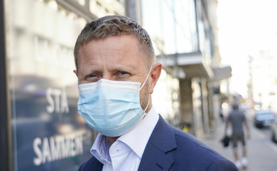 Helse- og omsorgsminister Bent Høie, med munnbind tatt etter pressekonferansen om koronasituasjonen.