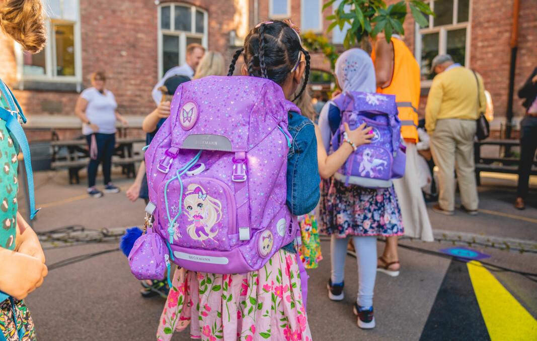 Elever på Lakkegata skole i Oslo på første skoledag.