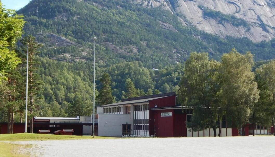 Lægreid skule i Hardanger er en av skolene som holder stengt på grunn av covid-19-smitte.